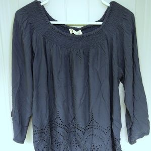 NWT Love Stitch blur blouse with eyelet accent